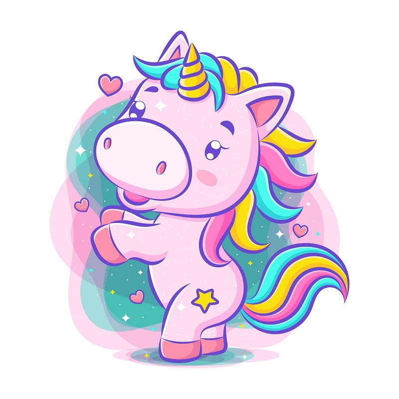 Little cute unicorn dance and smile of illustration