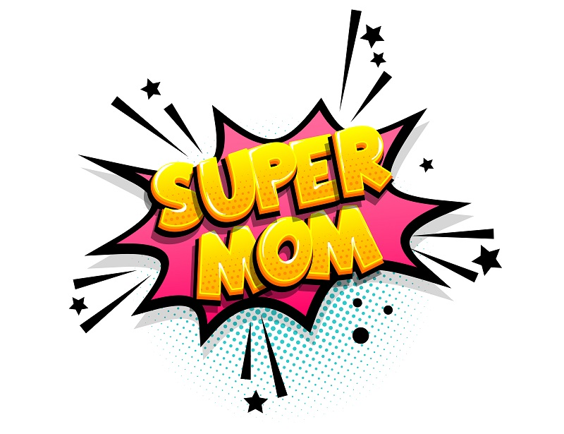 Super mom cartoon funny retro candy comic font. Explosion isometric text shock phrase pop art. Colored comic text speech bubble. Positive glossy sticker cloud vector illustration.